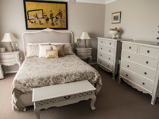 This bedroom is one of our happy clients who purchased the Portia upholstered bedhead.