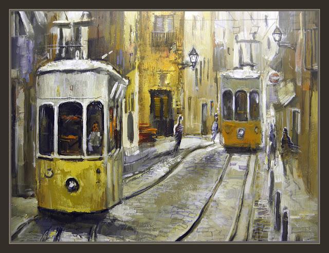 LISBOA-PINTURAS-TRANVIAS-CALLES-HISTORIA-PORTUGAL-ERNEST DESCALS-