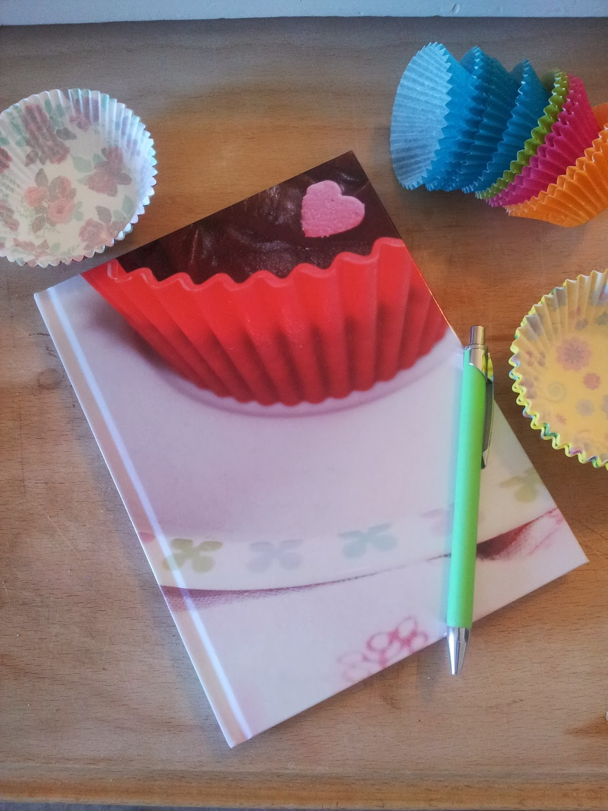 Front cover of notebook with cupcake
