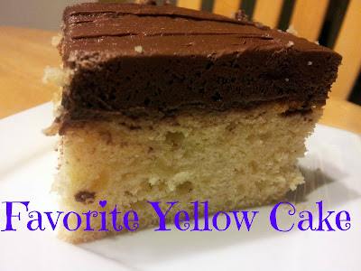 Slice of yellow cake with mocha frosting