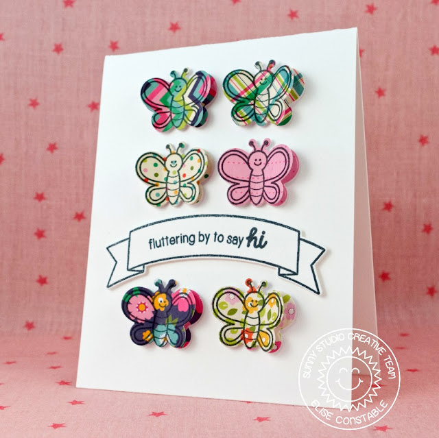 Sunny Studio Stamps:  Fluttering By To Say Hi Card by Elise Constable (using Backyard Bugs and Sunny Borders Stamp sets)
