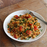Ispaniška paella su žiedinio kopūsto ryžiais