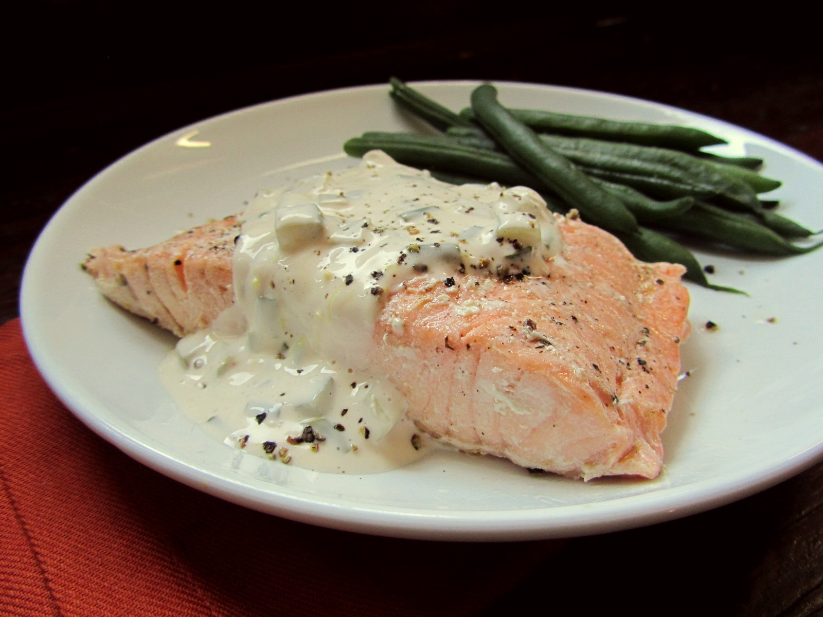 Poached Salmon with Homemade Tartar Sauce - In Hot Water