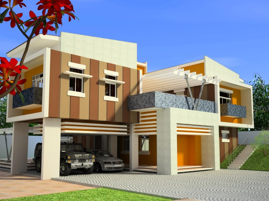 Modern house exterior front designs ideas. title=