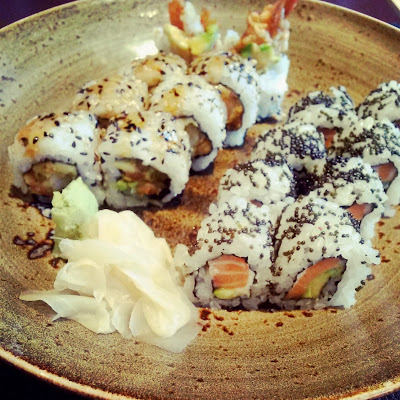 Sticks N Sushi - sushi!!! Black alaska roll and Crispy ebi roll