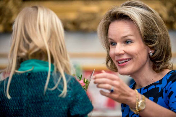Queen Mathilde of Belgium took part in an event during the 'Week of Reading Aloud' organised by non-profit association 'Iedereen Leest'