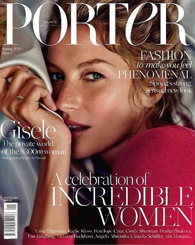 Gisele Bundchen en portada de Porter Magazine febrero 2014