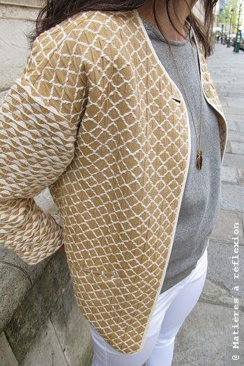 Veste Sessun kimono coton beige Lalin