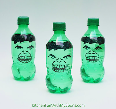 The HULK Soda Pop Bottles & The Avengers Party from KitchenFunWithMy3Sons.com