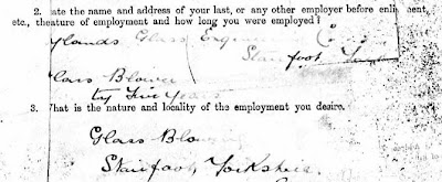 A snip from the army form to obtain information from a man who is being transferred to the Reserve.  Several preprinted questions have been answered in neat handwriting.