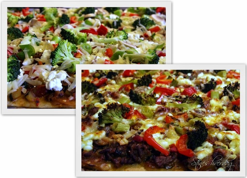 Hjemmelaget pizza med cottage cheese og masse grønnsaker