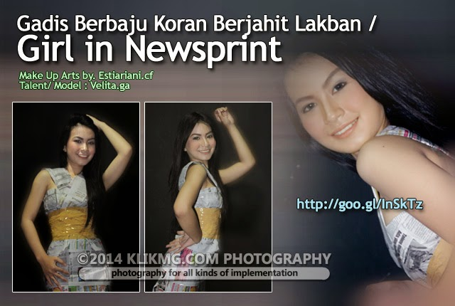 Gadis Berbaju Koran Berjahit Lakban / Girl in Newsprint - talent : Velita [Model Purwokerto / Model Banyumas]  | Foto & Ide oleh Klikmg Talent Management