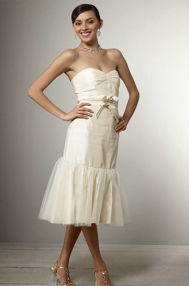 Knee Length Wedding Dresses UK White Rose Design pictures hd