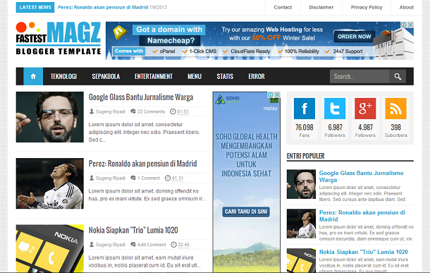 FASTEST MAGZ Template Blogger SEO Responsive