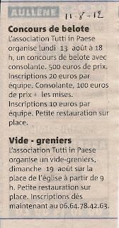 Aullène : vide grenier et concours de belote