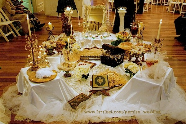Ask cynthia ethnic weddings sofreh aghd for Persian wedding ceremony table