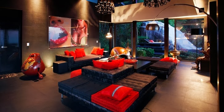 Dark living room in Amazing contemporary Villa Yin in Phuket