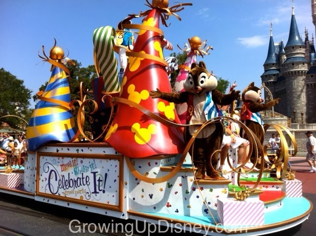 Chip and Dale in the Move It Shake It Celebrate It Street Party at Magic Kingdom