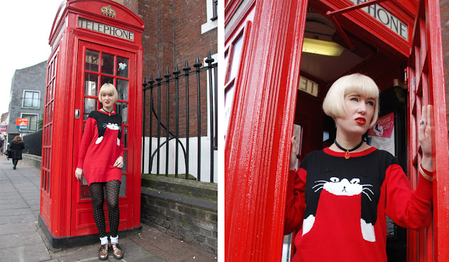 cat jumper, london, phone box, blond girl
