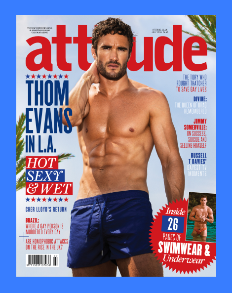Thom Evans Shirtless in Attitude's July 2014 Issue