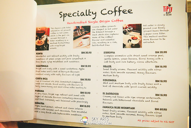 TiPsy Brew O'Coffee - Specialty Coffee that are all handcrafted Price ranging from RM10.90 to RM69.90