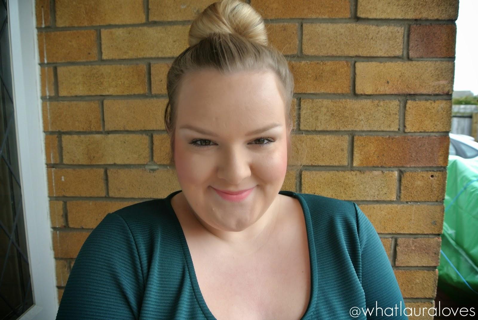 Makeup Revolution The One Blush Stick in Matte Rush worn on cheeks