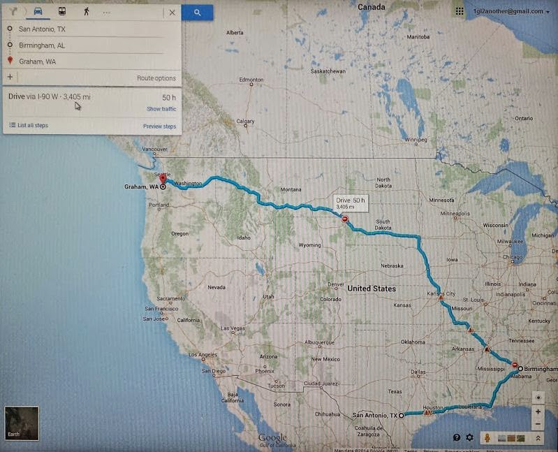 San Antonio, TX to Graham, WA via Birmingham,  Alabama?   That's 3405 miles by one route.  The extra mileage is a long way out of route. Why would you do that?  You already see  each other twice a year at conferences. That's more face time than most NTCCers get with their families.