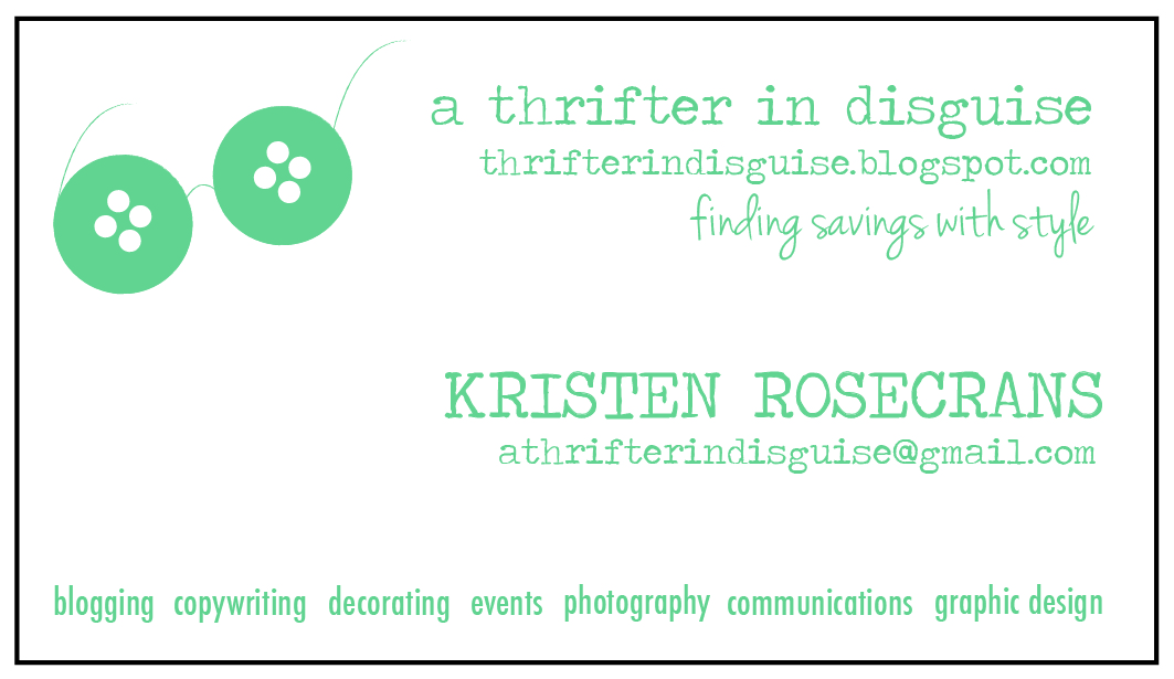 A Thrifter in Disguise Business Cards for a Small Businesses