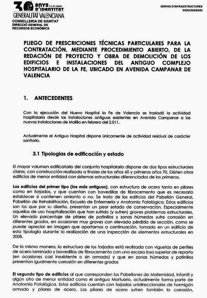 DOCUMENTOS DEL PLIEGO DEL DERRIBO DE LA FE , SANIDAD NO SABE SI ...