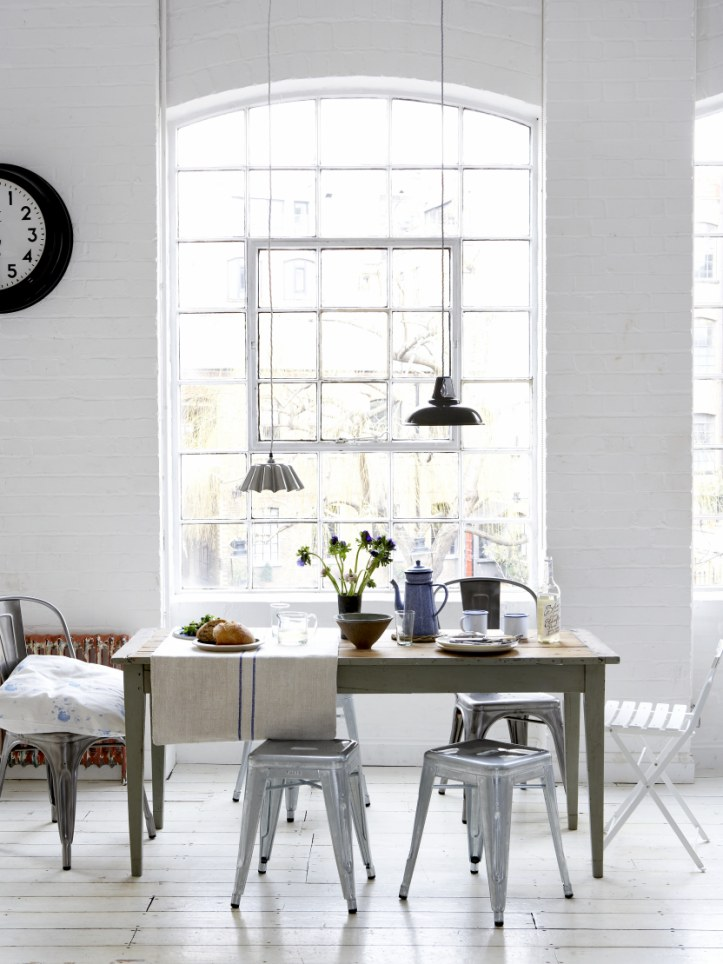 simple dining room with Tolix galvanised stools and chairs (designed