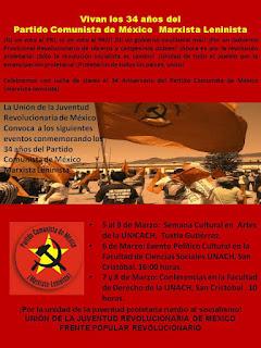 34 Aniversario del Partido Comunista de México (Marxista-Leninista) eventos Chiapas