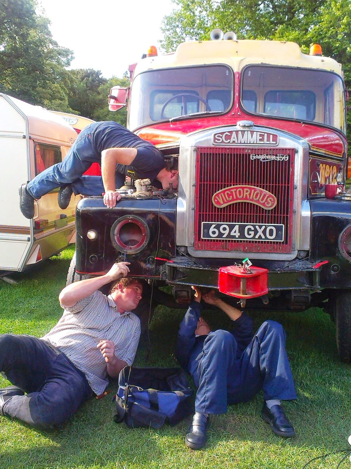 Fixing a lorry at Carters Steam Fair