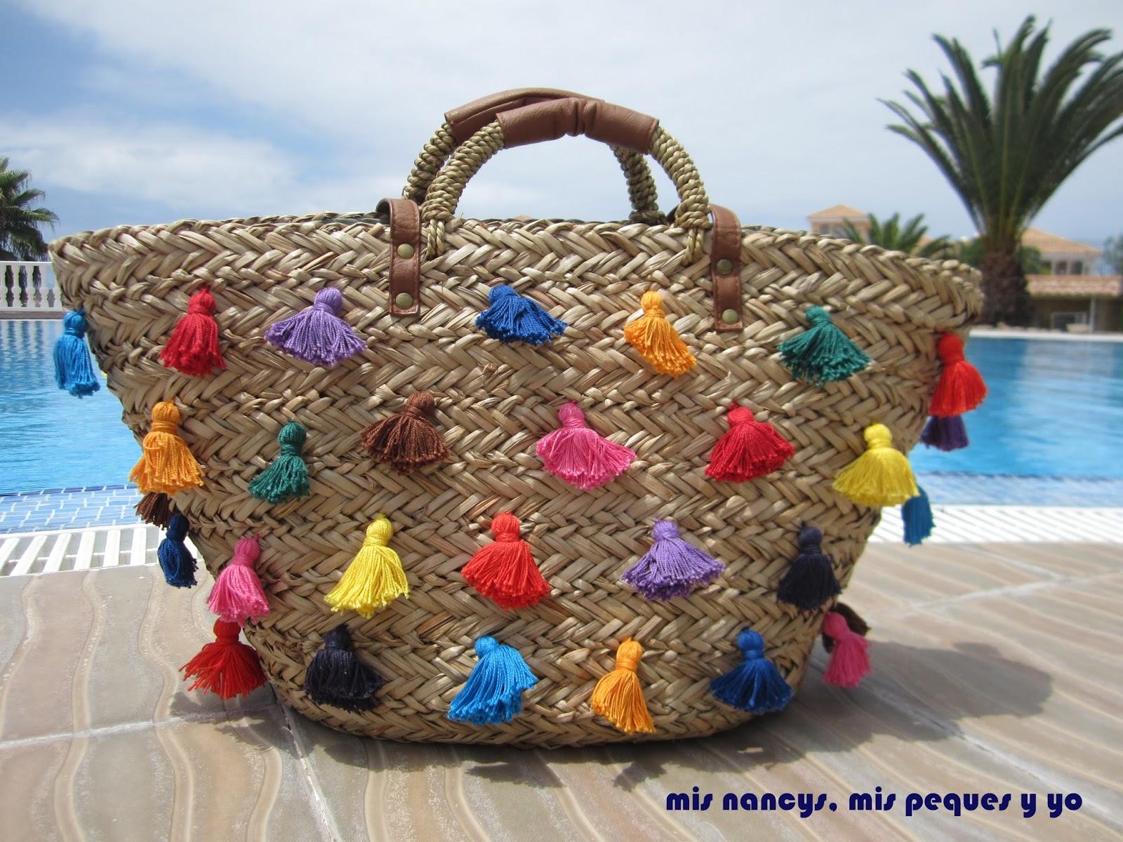 mis nancys, mis peques y yo, tutorial DIY cesta playera con borlas