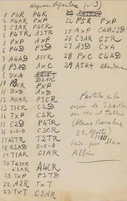 Detalle manuscrito de la tercera planilla de la sesión de simultáneas que Max Adolf Albin dio en Barcelona el 9 Agosto de 1910