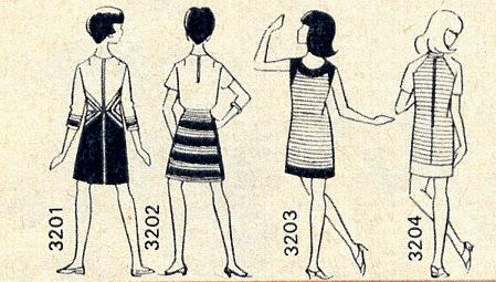 vintage 60s 1960 années 60 1967 dress robe rayée rayure stripes striped jaune bleu marine blanc lilas navy blue yellow white lilac sleeveless shor sleeves geometric colorblock color block Robe-étui en coton rayé marine et jaune : bande d'encolure,    bords   d'emmanchure    et   de   jupe   en   marine,   petit décolleté  arrondi. Robe-étui en coton rayé jaune et parme ; manches courtes, empiècement d'épaule et bord de jupe en uni. encolure ras de cou .Deux-pièces  à   réaliser en jersey : jupe évasée à   rayures   marine,   jaune   et   blanc,   ceinture   coulissée   et   nouée. Corsage  ras  de  cou  de  ton  uni,   petites manches montées.Robe en jersey à corsage jaune et jupe marine évasée : elle est animée d'incrustations rayées formant des motifs géométriques. Manches écourtées avec rappel des rayures.
