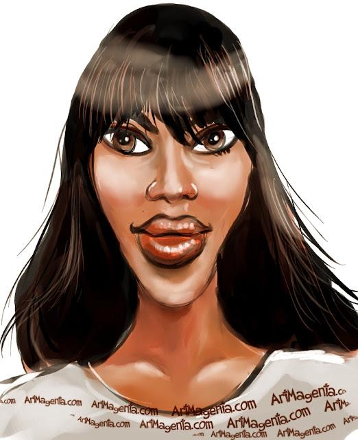 Naomi Campbell  caricature cartoon. Portrait drawing by caricaturist Artmagenta