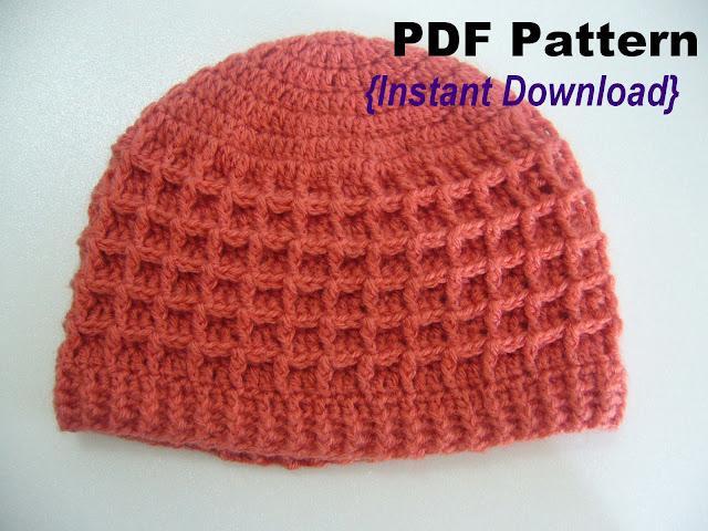 crochet waffle stitch hat