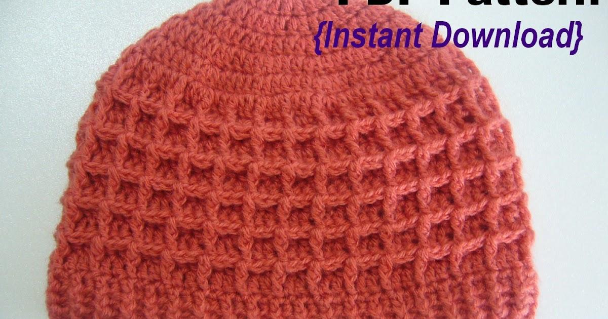 Waffle Stitch Knit Hat Pattern : Crochetkari: Crochet Waffle Stitch Hat Pattern