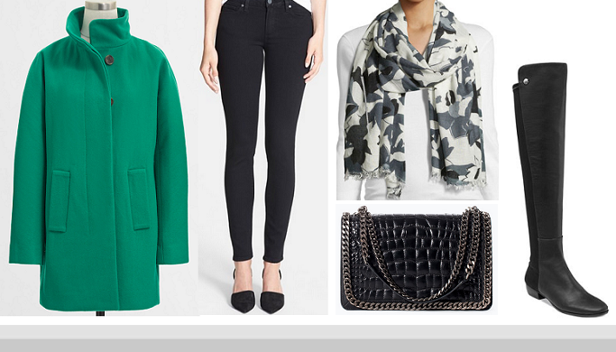 JCrew Factory Green City Coat Outfit