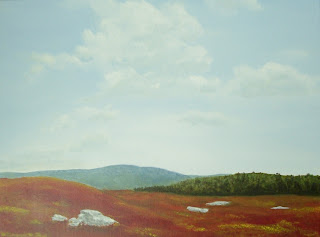 maine landscape painting, maine landscape art, new england landscape painting, autumn nature art, autumn blueberry field, red blueberry barrens, new england art, maine nature art