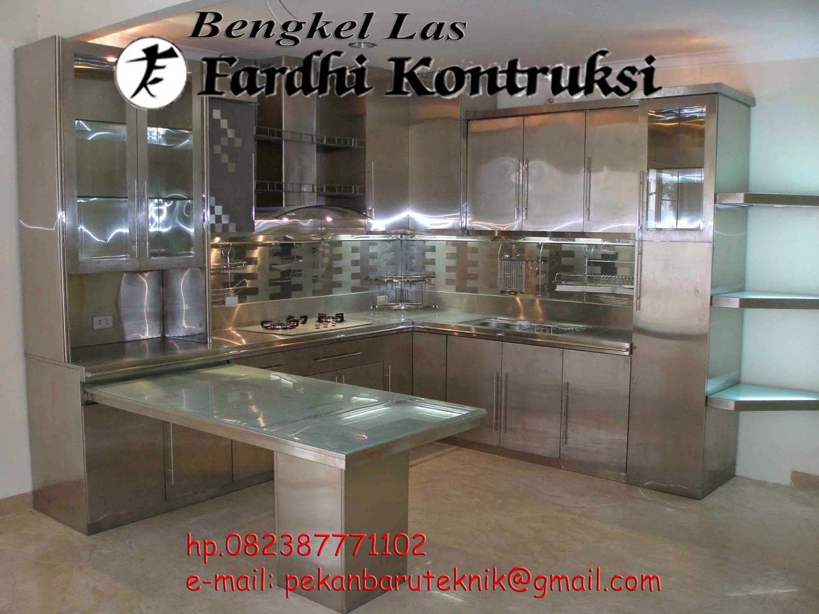 Bengkel las murah pekanbaru kitchen set rak rak dan lemari for Harga kitchen set stainless steel