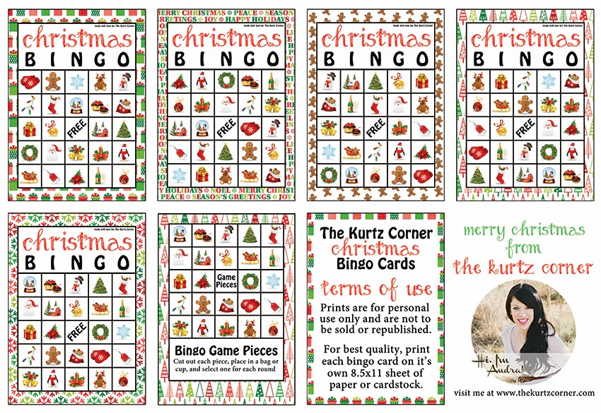 picture relating to Holiday Bingo Printable identify The Kurtz Corner: Cost-free Printable Xmas BINGO Playing cards