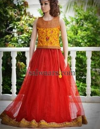Cut Lace Red Lehenga