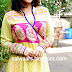 Vidya Balan in Printed Yellow and Pink Designer Anarkali Suit