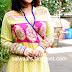 Vidya Balan in Printed Yellow and Pink Designer Anarkali Suit