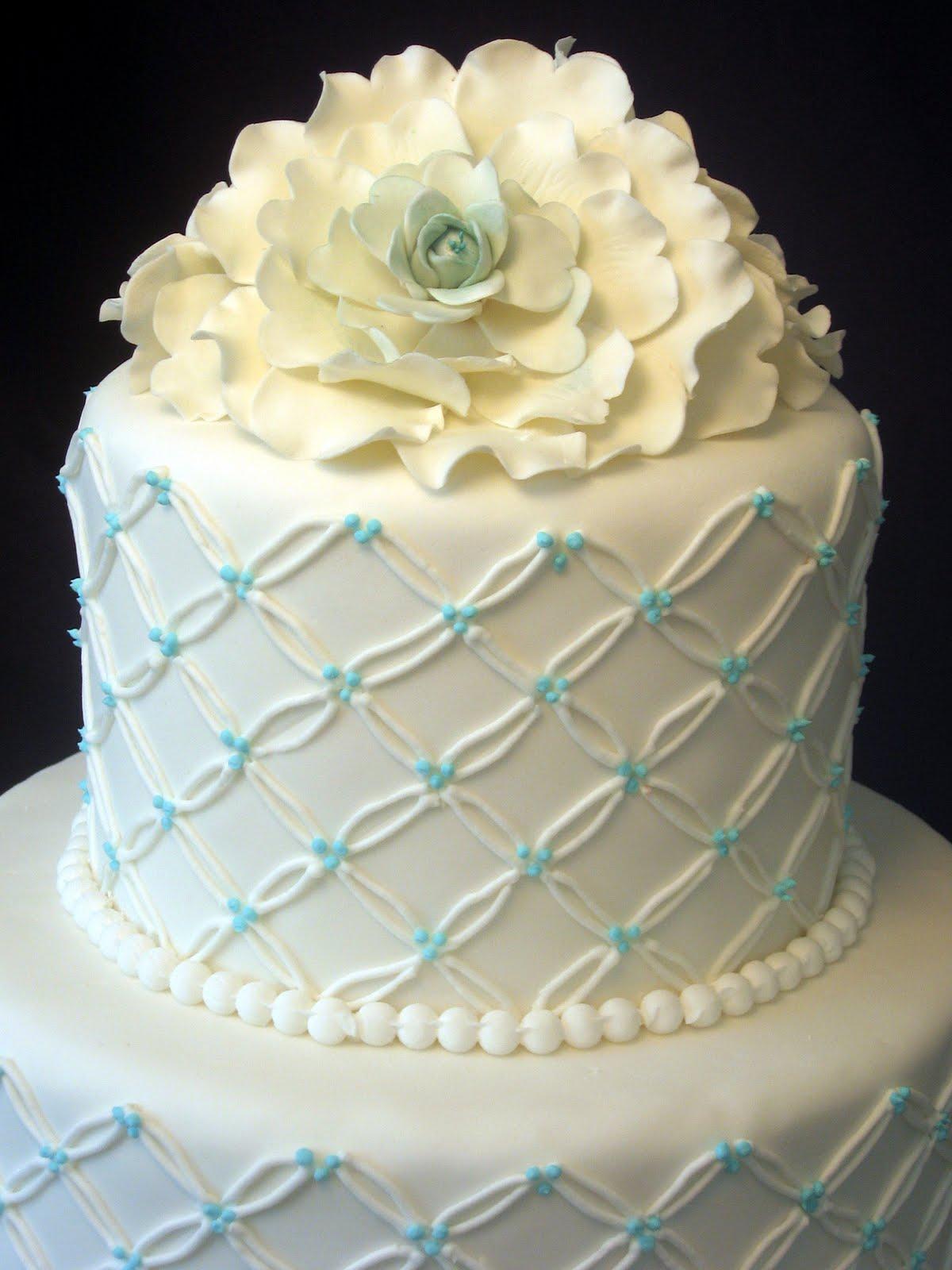 Cake Fiction Camellia Wedding Cake with Cross Hatching