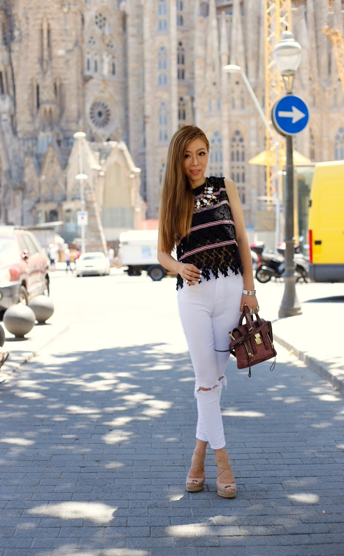 English factory ribbons lace blouse, asos ripped jeans, tory burch wedges, hermes bracelet, baublebar statement necklace, 31phillip lim mini pashli bag, fashion blog, travel diaries, sagrada familia, barcelona, spain, new york fashion blog