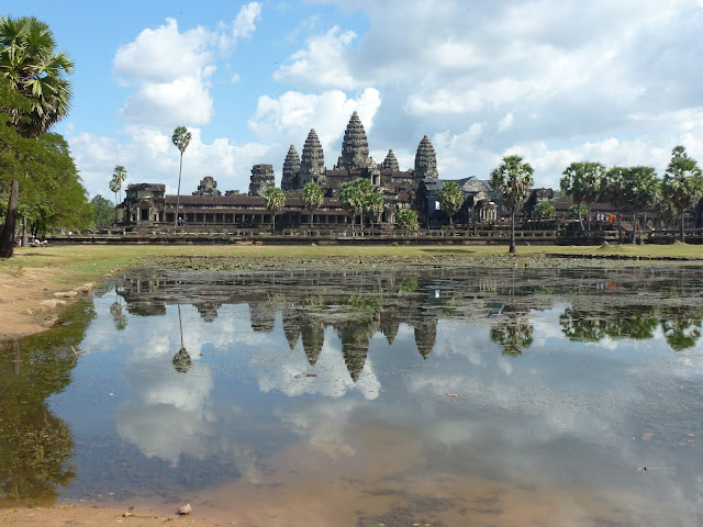 The view of Angkor Wat relfecting on the water