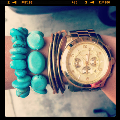 Turquoise Bracelet Turquoise Arm Party MK  Runway Watch