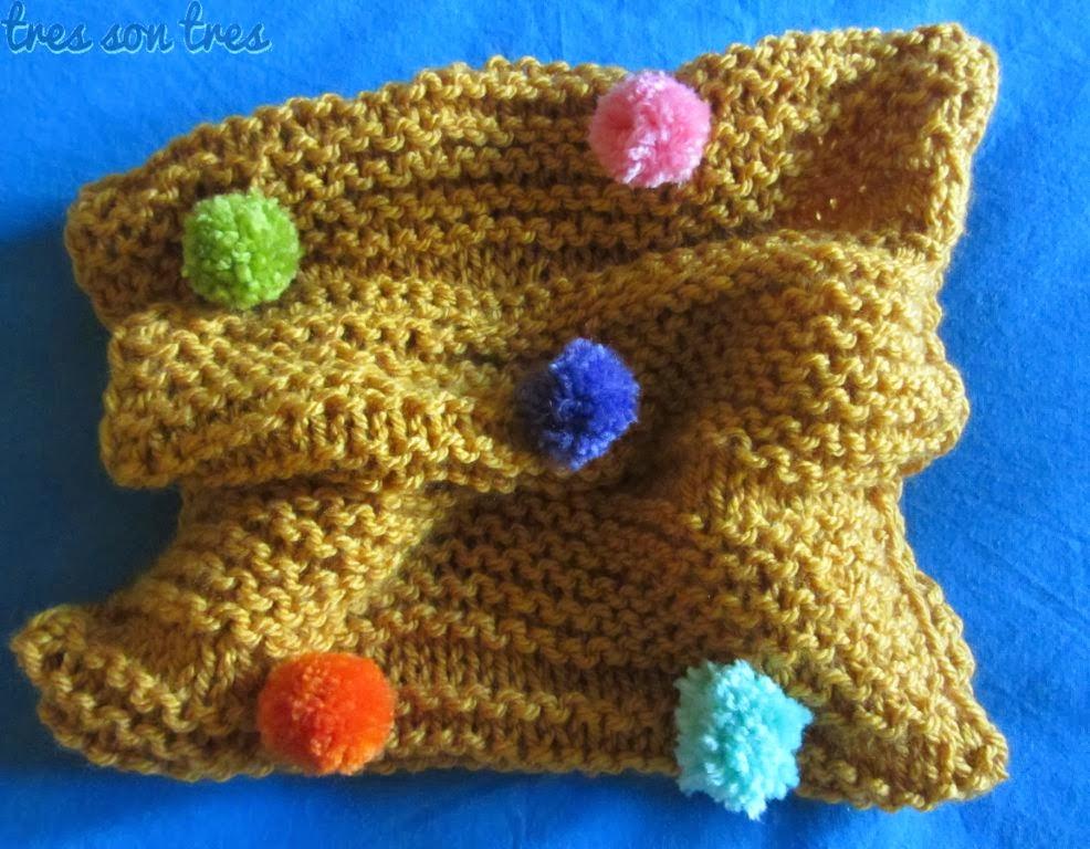 knit,cuello, cowl, dos agujas